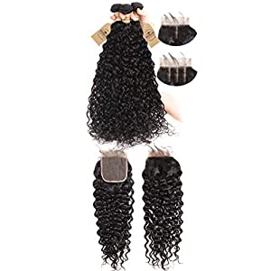 Brazilian Water Wave 3 Bundles With Closure Hair Remy Human Hair Bundles With Closure 4X4 Swiss Lace Natural Color…