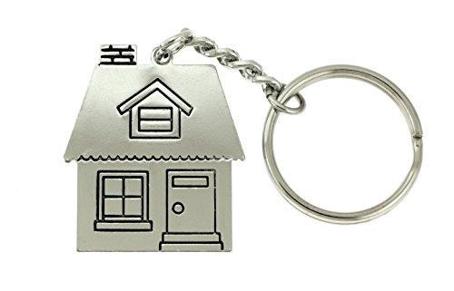 Silver-Tone House Shaped Split-Ring Keychain KEKC5014