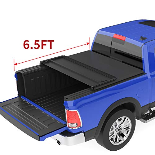 oEdRo Tri-Fold Truck Bed Tonneau Cover Compatible with 2002-2020 Dodge Ram 1500; 2003-2018 Dodge Ram 2500 3500, Fleetside 6.5 Feet Bed (for Models Without Ram Box)