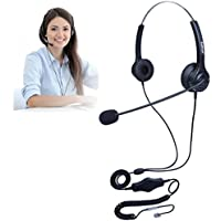 TRIPROC Binaural 4 Pin RJ9 Telephone Headset with Mute and Volume Adjuster, For Landline Phones (H400DRJ)