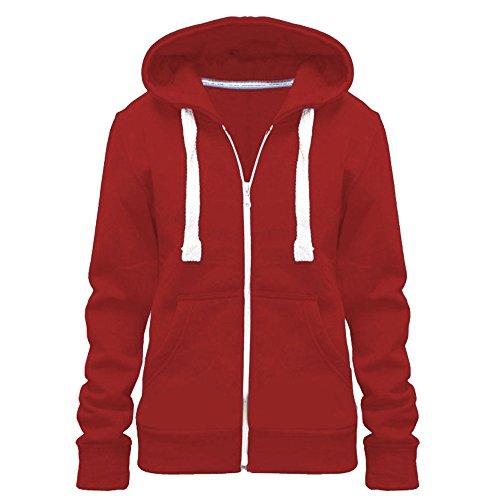 Lisa Para Dama Color Con capucha jersey cremallera capucha talla grande (UK 8-28) - algodón, Rojo, 50% algodón 50% poliéster 50% algodón 50% poliéster, mujer, EU TALLA 5XL=50