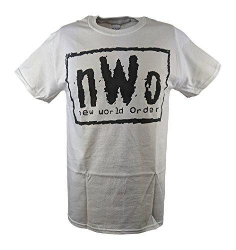 Logo White Black And (Hybrid Tees NWO New World Order White WCW T-Shirt with Black Logo-XL)