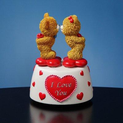 Kissing Bears Animated Musical Figurine by The San Francisco Music Box Company