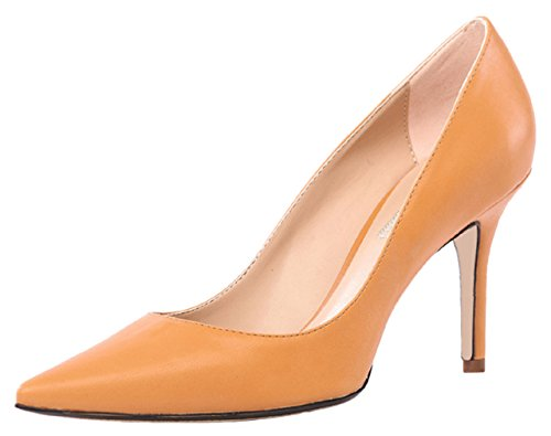HooH Women's Pointed Toe Stiletto Dress Pumps 0017 orange(heel:10cm)