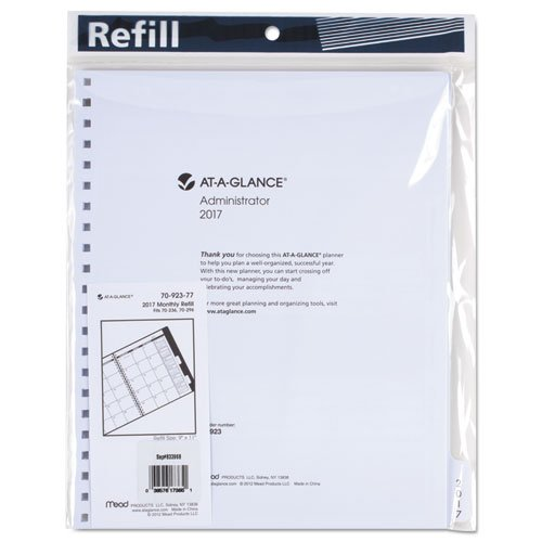 AT-A-GLANCE 7092377 Three/Five-Year Monthly Planner Refill, 9 x 11, White, 2017