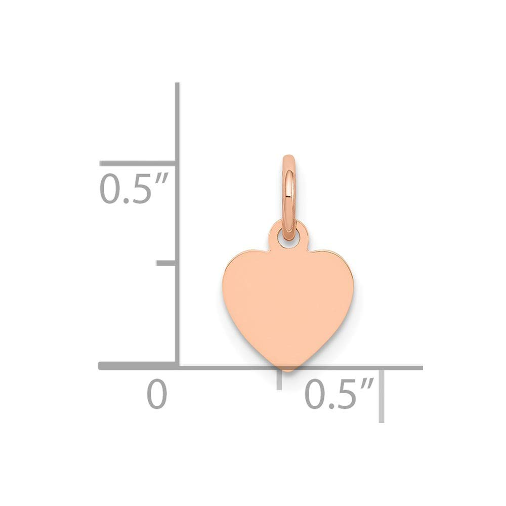 Jewel Tie 14K Rose Gold Heart Disc Charm 0.55 in x 0.35 in