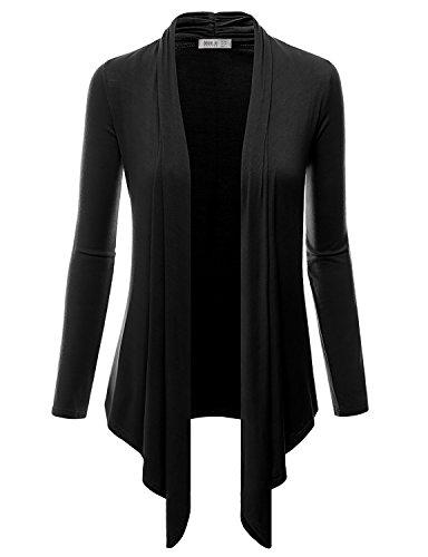 Doublju Women 3/4 Sleeve Silk Touch Ribbed Sport Cottton V-neck pony logo sweater Black Cardigan,X-Large,XL