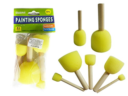 DollarItemDirect Paint Sponges 5 pcs with Stick, Case of 96 by DollarItemDirect