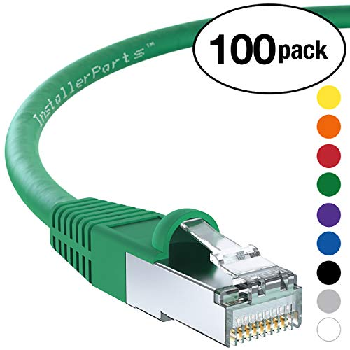 (InstallerParts (100 Pack) Ethernet Cable CAT6 Cable Shielded (SSTP/SFTP) Booted 1 FT - Green - Professional Series - 10Gigabit/Sec Network/High Speed Internet Cable, 550MHZ)