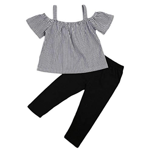 Little Girl Clothes Kids Toddler Off Shoulder T-Shirt Tops+Long Pants Outfit 2PCS Clothes Set,Striped + Black,2-3 Years