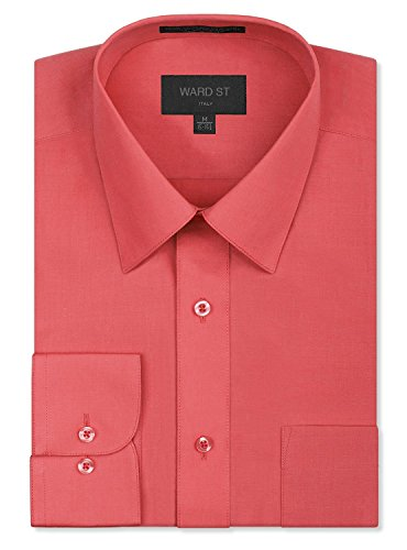Ward St Men's Regular Fit Dress Shirts, XL, 17-17.5N 36/37S, Coral ()