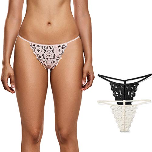 22758d76d89e DOBREVA Women's 3 Pack Low Rise G-String Floral Lace Thong T-Back Panties