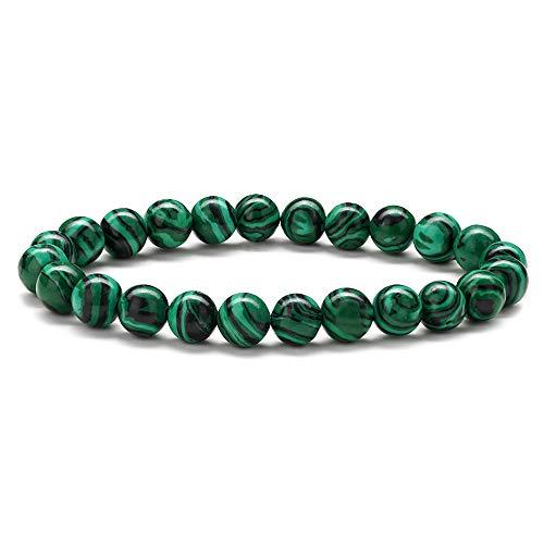 M MOOHAM Malachite Mens Bracelet Gifts - Natural Green Malachite Stone Womens Anxiety Healing Bracelets, Elastic Malachite Stone Bracelet Wedding Gifts Bridal Shower Gifts Bridesmaid Gifts
