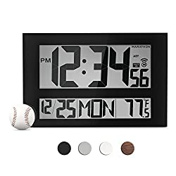 MARATHON CL030025BK Commercial Grade Jumbo Atomic Wall Clock with 6 Time Zones, Indoor Temperature & Date (Black)