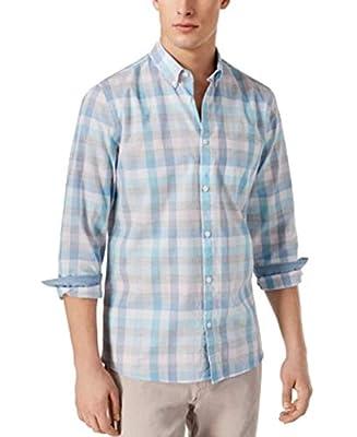 Calvin Klein Men's Long Sleeve Button Down Plaid Shirt