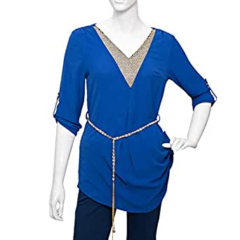 Damacseno Blue Mixed V Neck Blouse For Women
