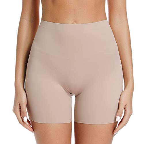 WOWENY Anti Chafing Short for Women Slip Short Panty for Under Dresses Skimmies Smoothing High Waist (Nude, S)