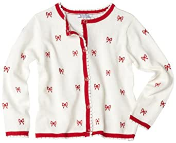 Hartstrings Little Girls' Embroidered Bow Cardigan Sweater, Pearl, 2T