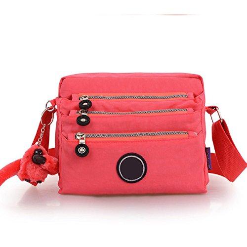 Frauen Jahrgang Leinwand Messenger Aktentasche Schulter Tote Seite Sport Tasche,Red-23cm*8cm*17cm