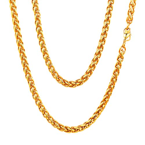 - FaithHeart 6 MM Twisted Spiga Wheat Chain Necklace Anklets, 18 Inches 18K Gold Plated Daily Chains Gift for Men/Women, DIY Chains (with Gift Box)