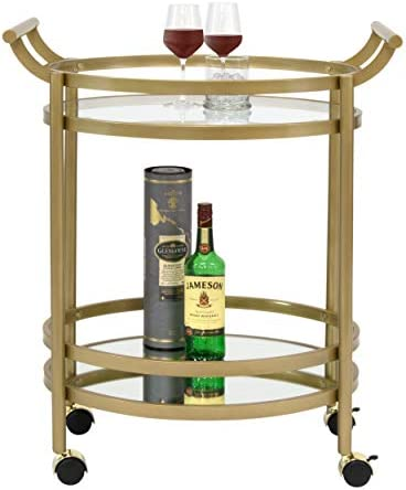 Studio Designs Home Palazzo Modern 2-Tier Oval Metal Rolling Bar, Serving, Utility Mobile Cart with Handles and Spill Guard in Gold Clear Glass and Mirror, 27 W x 17.5 D x 33.25 H,