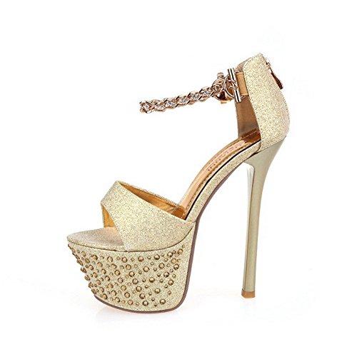 AllhqFashion Women's Soft Material Open Toe High-Heels Chains Solid Sandals Gold RYeRQD2ey8