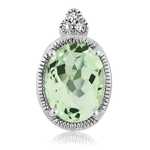 Green Amethyst Diamond Pendant (10K White Gold Oval Green Amethyst Diamond Pendant 0.75 cttw)