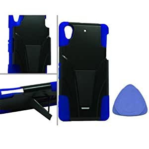 Sony Xperia Z2 Sirius D6503 Hybrid Case with Y Shape Stand Protector Cover - Black/Blue + Tool