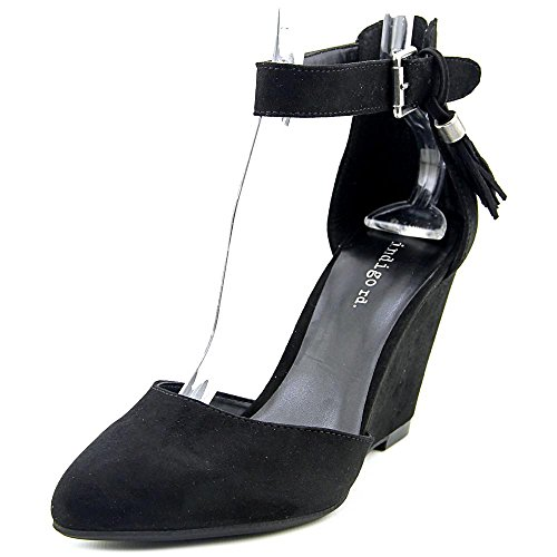 Fabric Ankle Strap - Indigo Rd. Womens Earli Closed Toe Ankle Strap Wedge, Black Fabric, Size 11.0