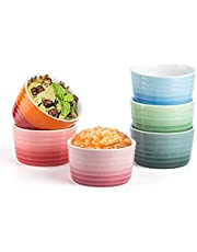 7oz Ramekins,Porcelain Souffle Custard Cups,Creme Brulee Porcelain Ramekins Oven Safe, Classic Style Ramekins for Baking Souffle Ramekins Bowls,6 Colors,Set of 6