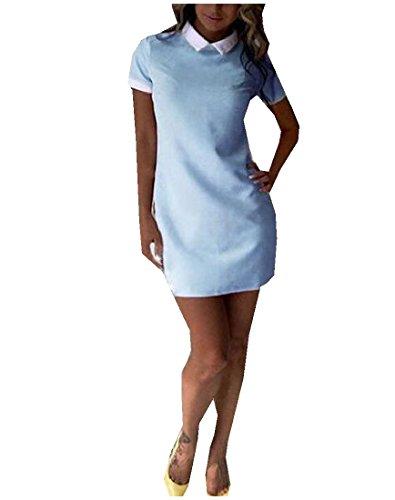 Womens Del Congiungono Comodi Bodycon Blu Turndown Collare Luce Colore Mini Abito frPqf