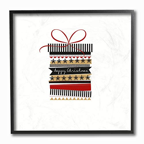 The Stupell Home Décor Collection hwp-244_fr_12x12 Holiday Minimal Happy Christmas Patterned Present Stas Stripes Black Red and Gold Framed Giclee Texturized Art, Multi-Color