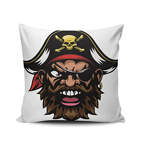 XIUBA Throw Pillow Covers Case an Cartoon Mean Tough Looking Pirate Sports Mascot Decorative Pillowcase Cushion Cover 20X20 Inch Square Size Double Sided Design Printed -