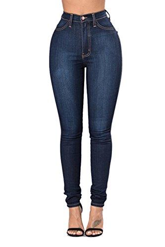 Tallas Wasit Jeans Vosujotis Pantalones Denim Alta Oscuro Azul La Skinny Grandes Mujer Leggings ZwqOgC