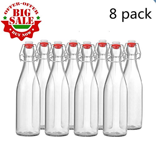 MAMA-AI-2018' Pack of 8 Beer Bottles 16 oz,Easy Cap Glass Bottle with Stopper, Swing Top Bottles for Oil, Vinegar, Beverages, Beer, Water, Kombucha, Kefir, Soda - Clear ...