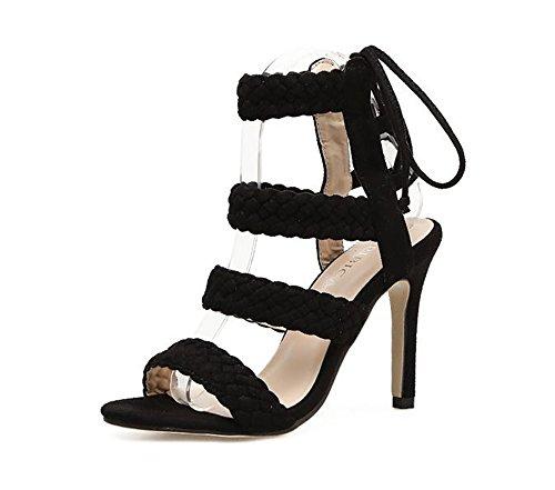 Queena Wheeler Women Shoe Ankle High Pump Heel Sandals Women Heel Pump Dress Sandals Black