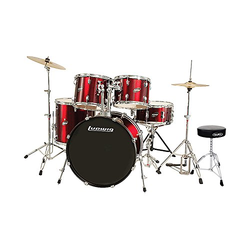 Ludwig 5 Piece Accent Drive Drum Set (Wine Red) with Hardware & Cymbals with Tama HT130 Standard Double Braced Leg Throne