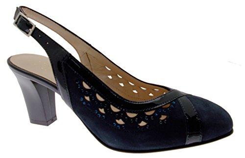 Soffice Sogno 8060 Sandal Shoe decolt and Open Dance Blue Leather Paint 37 CIDhC