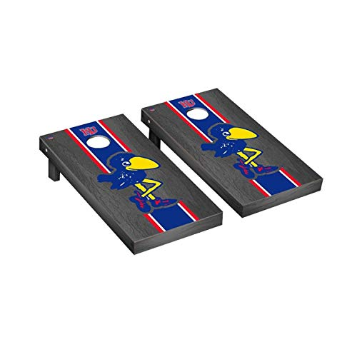 - Victory Tailgate Kansas KU Jayhawks NCAA College Vault Onyx Stained Stripe Cornhole Board Set - 2 Boards, 8 Bags