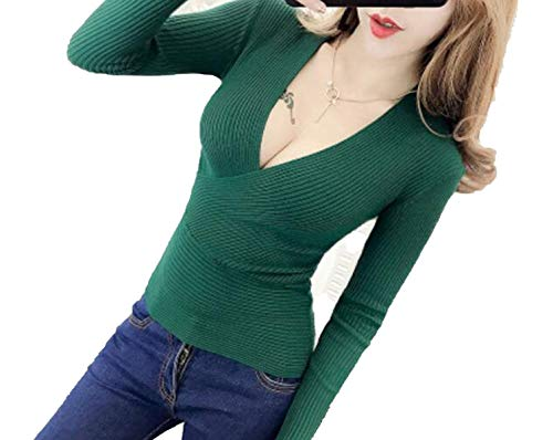 2018 Spring High Elastic Knitted Sweater Woman Sexy V-Neck Sweaters Pullovers Long Sleeve,Green,One Size -