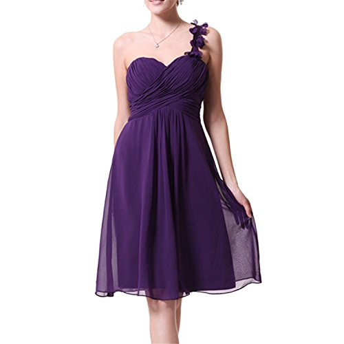 oppicong Women's Flower One Shoulder Knee Length Bridemaid Prom Pageant Dress Purple10 (50s Dress Up Ideas)