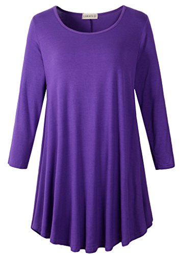 LARACE Women 3/4 Sleeve Tunic Top Loose Fit Flare T-Shirt(L, Deep - T-shirts 3/4 Maternity Sleeve