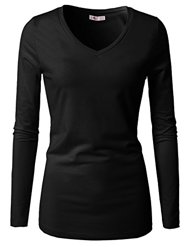 H2H Women's Cotton V-Neck Solid Long Sleeve T-Shirt (Pack of 3) Black US M/Asia M (CWTTL0250)