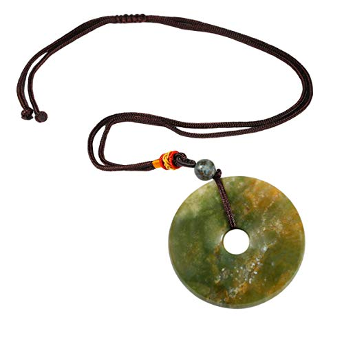 TUMBEELLUWA Healing Stone Pendant Crystal Necklace Chakra Quartz Cord Donut Shape Lucky Amulet Handmade Jewelry for Women Men,India Agate ()