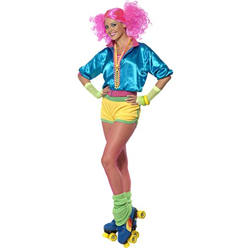 [Smiffy's Women's Skater Girl Costume, Tip, Shorts and Boob Tube, Back to the 80's, Serious Fun, Size 10-12,] (Top Ten Halloween Costumes For Women)