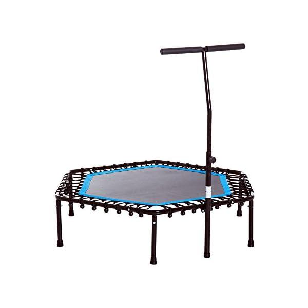 Homcom Trampoline de Fitness/Gymnastique Haute Performance Ø 114 cm élastiques Bungee + Guidon Hauteur réglable 116-132 cm Bleu Noir accessoires de fitness [tag]