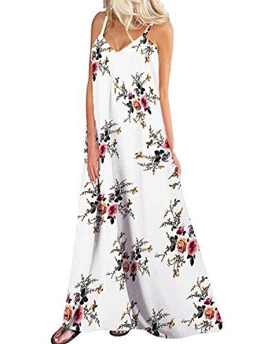 Kidsform Sleeveless Maxi Dresses for Women Bohemian Floral Dress Flowy Dress Halter Long Sundresses Summer Spaghetti Straps V Neck Clothing Casual Loose Party Beach A-Floral White Medium]()