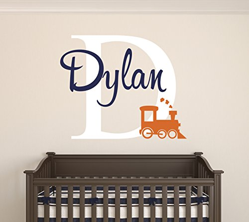 Custom Train Name Wall Decal - Baby Room Decor - Nursery Wall Decals - Train Smoke Art Vinyl Sticker