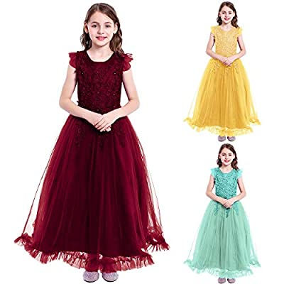 Flower Girls Maxi Dress Bridesmaid Wedding Pageant Party Princess Communion Floral Boho Vintage Lace Dance Gown