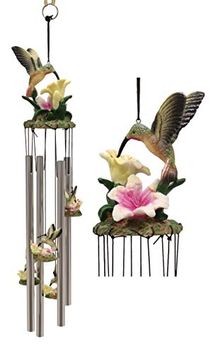 Blossom Hanging Hummingbird Feeder (Ebros Beautiful Hummingbird with Nectarine Lily Flowers Wind Chime 21